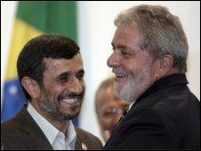 Iranian President Mahmoud Ahmadinejad and Brazilian President Lula