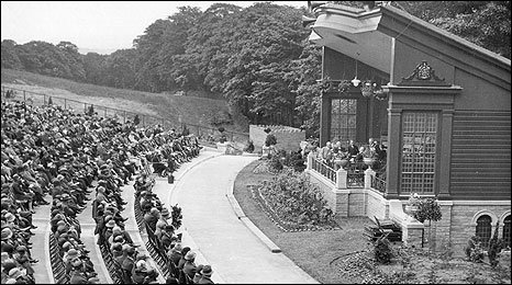 The opening of the Massey Music Pavilion in Towneley Park in the late twenties, demolished in the 1960s