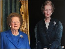 Baroness Thatcher with the portrait