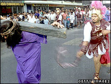 Re-enactment of crucifixion in Panama