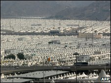Muslim pilgrims' tent city at Mina, near Mecca