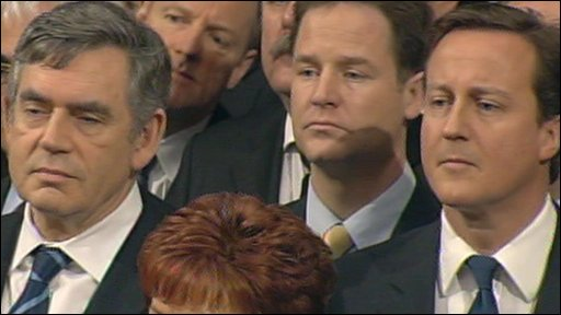 Brown, Clegg and Cameron