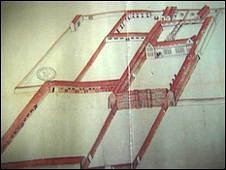 A plan of Shurland Castle of which only the gatehouse remains