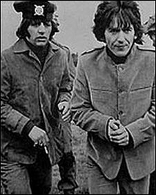 Ringo and George filming Help! on Salisbury Plain