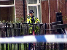 Policewoman at Lynton Estate where the stabbings took place