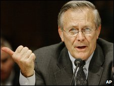 Donald H. Rumsfeld testifies on Capitol Hill in 2004