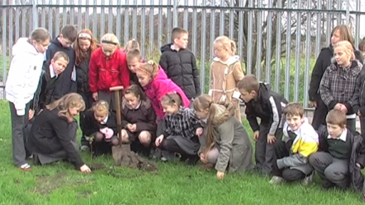 White Laith Primary School pupils plant a tree