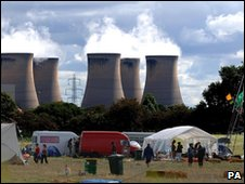 Drax power station and the protest camp, 2006
