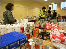 Emergency food station at Northside community centre to help residents in Workington (pic: George Carrick Photography)