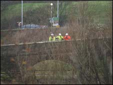 Engineers inspect the Calva Bridge in Workington after the floods (pic George Carrick Photography)