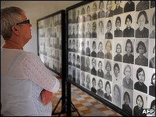 Images of victims of Khmer Rouge at genocide museum in former S-21 prison