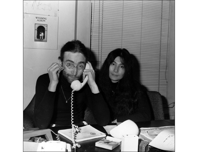 John Lennon is seen here with his wife Yoko Ono