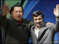 Venezuela's Hugo Chavez (left) and Iran's Mahmoud Ahmadinejad (right) during a meeting in April 2009