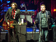 Snow Patrol frontman Gary Lightbody and comedian James Corden - picture courtesy of www.bradleyquinn.com