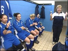 Sally Page with Heather St John Ladies Football Team