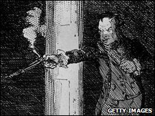 John Bellingham in a contemporary illustration of the assassiniation of Spencer Perceval