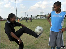 Youngsters playing football in Alexandra in Johannesburg