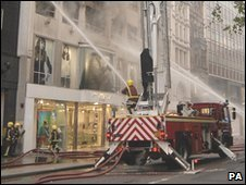 Fire at New Look store on Oxford Street in April 2007