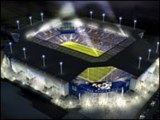 An artist's impression of the proposed stadium
