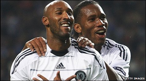 Chelsea strikers Nicholas Anelka and Didier Drogba