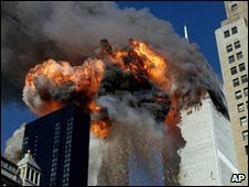 A plane hits one of the World Trade Center towers on 11 September 2001