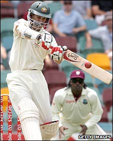 Simon Katich pulls a short ball at the Gabba