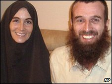 Freed hostage journalists Canadian Amanda Lindhout, left, and Australian Nigel Brennan,