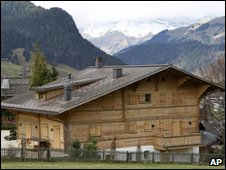 The chalet reported to belong to Roman Polanski in Gstaad, Switzerland, on 26 November 2009