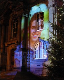 Projection of Joe McElderry on side of South Shields Town Hall