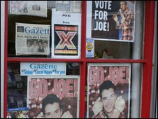 Posters in shop window