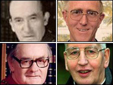 Archbishops of Dublin, clockwise from top left: John Charles McQuaid, Dermot Ryan, Desmond Connell and Kevin McNamara