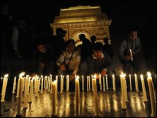 People light candles at the Gateway of India in memory of the victims of the Mumbai attacks
