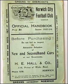 Handbook for 1923 Norwich City season