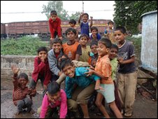 Children in the slum next to the Union Carbide factory in Bhopal.