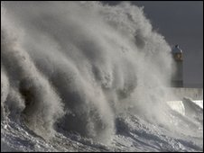 Waves batter the harbour wall on November 22, 2009 in Porthcawl, Wales