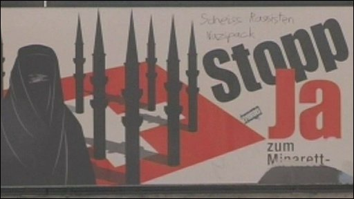 A poster in Switzerland to ban the building of minarets