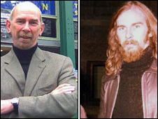 Geoff Upex now (l) and in 1974 (r)