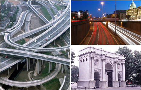Spaghetti junction in Birmingham, M8 in Glasgow and Marble Arch in London