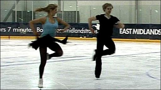 Christina Chitwood and Mark Henretty practice at IceSheffield