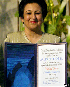Shirin Ebadi with the Nobel Peace Prize in 2003