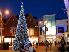 The Christmas tree outside the Dolphin Centre