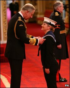 Kate Nesbitt receiving her Military Cross