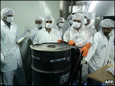 Iranian nuclear technicians with uranium at the Isfahan plant (file image)