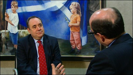 Scotland's First Minister Alex Salmond talks to the BBC's Nick Robinson