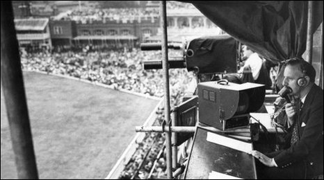 Brian Johnston commentating at Lord's for the BBC in 1957