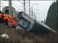 Overturned train carriage
