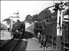 The last steam train leaving Swanage in September 1966