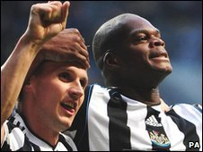Newcastle goal-scorers Peter Lovenkrands and Marlon Harewood celebrate
