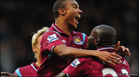 Junior Stanislas of West Ham celebrates with team mate Herita Ilunga