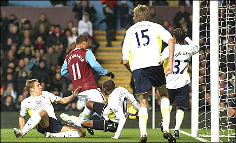 Gabriel Agbonlahor scores Aston Villa's opening goal